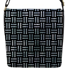 Woven1 Black Marble & Ice Crystals (r) Flap Messenger Bag (s) by trendistuff