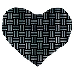 Woven1 Black Marble & Ice Crystals (r) Large 19  Premium Flano Heart Shape Cushions by trendistuff