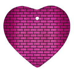 Brick1 Black Marble & Pink Brushed Metal Ornament (heart) by trendistuff