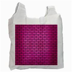 Brick1 Black Marble & Pink Brushed Metal Recycle Bag (one Side) by trendistuff