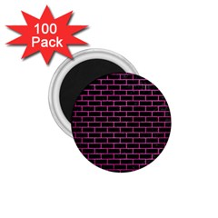 Brick1 Black Marble & Pink Brushed Metal (r) 1 75  Magnets (100 Pack)  by trendistuff