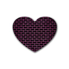 Brick1 Black Marble & Pink Brushed Metal (r) Heart Coaster (4 Pack)  by trendistuff