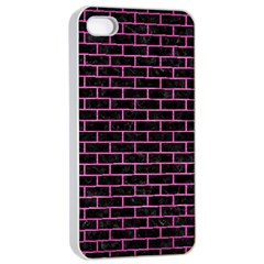 Brick1 Black Marble & Pink Brushed Metal (r) Apple Iphone 4/4s Seamless Case (white) by trendistuff