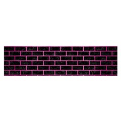 Brick1 Black Marble & Pink Brushed Metal (r) Satin Scarf (oblong) by trendistuff