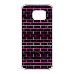 Brick1 Black Marble & Pink Brushed Metal (r) Samsung Galaxy S7 Edge White Seamless Case by trendistuff
