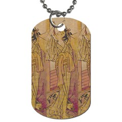 Japanese Geisha With Cat Illustration Dog Tag (one Side) by paulaoliveiradesign
