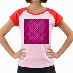 Brick2 Black Marble & Pink Brushed Metal Women s Cap Sleeve T Shirt