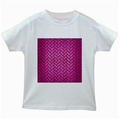 Brick2 Black Marble & Pink Brushed Metal Kids White T Shirts by trendistuff