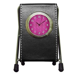 Brick2 Black Marble & Pink Brushed Metal Pen Holder Desk Clocks by trendistuff