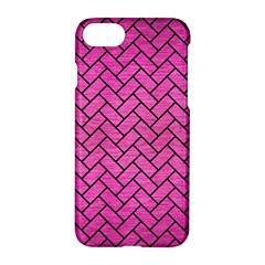 Brick2 Black Marble & Pink Brushed Metal Apple Iphone 8 Hardshell Case by trendistuff