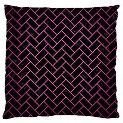 Brick2 Black Marble & Pink Brushed Metal (r) Large Cushion Case (two Sides) by trendistuff