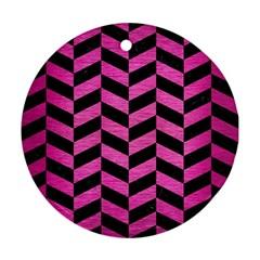 Chevron1 Black Marble & Pink Brushed Metal Ornament (round) by trendistuff