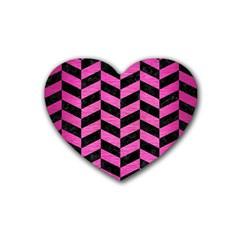 Chevron1 Black Marble & Pink Brushed Metal Heart Coaster (4 Pack)  by trendistuff