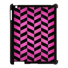 Chevron1 Black Marble & Pink Brushed Metal Apple Ipad 3/4 Case (black) by trendistuff