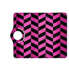 Chevron1 Black Marble & Pink Brushed Metal Kindle Fire Hdx 8 9  Flip 360 Case by trendistuff