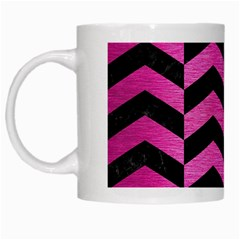 Chevron2 Black Marble & Pink Brushed Metal White Mugs by trendistuff