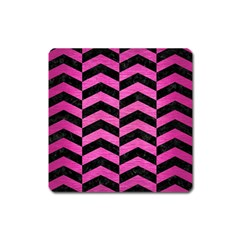 Chevron2 Black Marble & Pink Brushed Metal Square Magnet by trendistuff