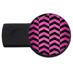 Chevron2 Black Marble & Pink Brushed Metal Usb Flash Drive Round (4 Gb) by trendistuff