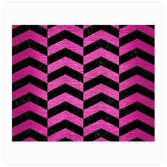 Chevron2 Black Marble & Pink Brushed Metal Small Glasses Cloth (2 Side) by trendistuff
