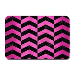 Chevron2 Black Marble & Pink Brushed Metal Plate Mats by trendistuff