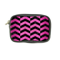 Chevron2 Black Marble & Pink Brushed Metal Coin Purse by trendistuff