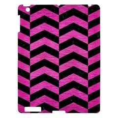 Chevron2 Black Marble & Pink Brushed Metal Apple Ipad 3/4 Hardshell Case by trendistuff