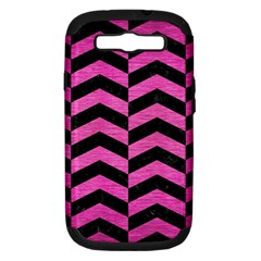 Chevron2 Black Marble & Pink Brushed Metal Samsung Galaxy S Iii Hardshell Case (pc+silicone) by trendistuff
