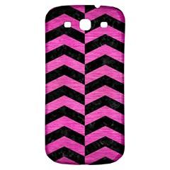 Chevron2 Black Marble & Pink Brushed Metal Samsung Galaxy S3 S Iii Classic Hardshell Back Case by trendistuff