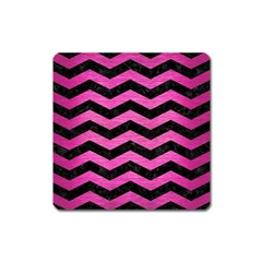 Chevron3 Black Marble & Pink Brushed Metal Square Magnet by trendistuff