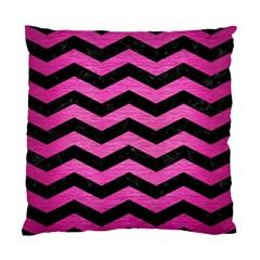 Chevron3 Black Marble & Pink Brushed Metal Standard Cushion Case (one Side) by trendistuff