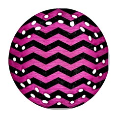 Chevron3 Black Marble & Pink Brushed Metal Round Filigree Ornament (two Sides) by trendistuff