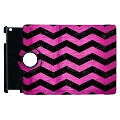 Chevron3 Black Marble & Pink Brushed Metal Apple Ipad 2 Flip 360 Case by trendistuff