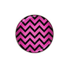 Chevron9 Black Marble & Pink Brushed Metal Hat Clip Ball Marker (4 Pack) by trendistuff