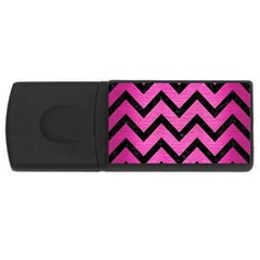 Chevron9 Black Marble & Pink Brushed Metal Rectangular Usb Flash Drive by trendistuff