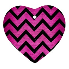 Chevron9 Black Marble & Pink Brushed Metal Heart Ornament (two Sides) by trendistuff