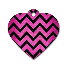 Chevron9 Black Marble & Pink Brushed Metal Dog Tag Heart (one Side) by trendistuff