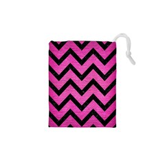 Chevron9 Black Marble & Pink Brushed Metal Drawstring Pouches (xs)  by trendistuff