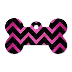 Chevron9 Black Marble & Pink Brushed Metal (r) Dog Tag Bone (one Side) by trendistuff