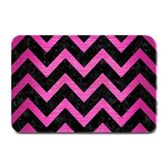 Chevron9 Black Marble & Pink Brushed Metal (r) Plate Mats by trendistuff