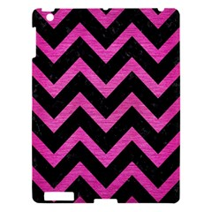 Chevron9 Black Marble & Pink Brushed Metal (r) Apple Ipad 3/4 Hardshell Case by trendistuff
