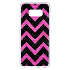 Chevron9 Black Marble & Pink Brushed Metal (r) Samsung Galaxy S8 Plus White Seamless Case by trendistuff