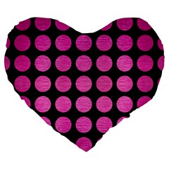 Circles1 Black Marble & Pink Brushed Metal (r) Large 19  Premium Heart Shape Cushions by trendistuff