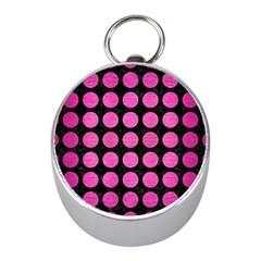 Circles1 Black Marble & Pink Brushed Metal (r) Mini Silver Compasses by trendistuff