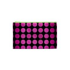 Circles1 Black Marble & Pink Brushed Metal (r) Cosmetic Bag (xs) by trendistuff