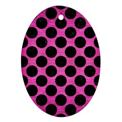 Circles2 Black Marble & Pink Brushed Metal Ornament (oval) by trendistuff