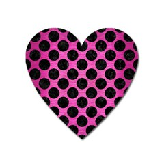 Circles2 Black Marble & Pink Brushed Metal Heart Magnet by trendistuff