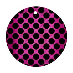 Circles2 Black Marble & Pink Brushed Metal Round Ornament (two Sides) by trendistuff