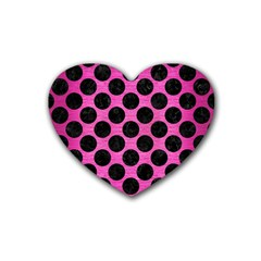 Circles2 Black Marble & Pink Brushed Metal Rubber Coaster (heart)  by trendistuff