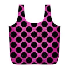 Circles2 Black Marble & Pink Brushed Metal Full Print Recycle Bags (l)  by trendistuff