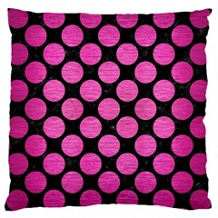 Circles2 Black Marble & Pink Brushed Metal (r) Large Cushion Case (two Sides) by trendistuff
